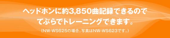 ヘッドホンに約3,850曲記録できるのでてぶらでトレーニングできます。(NW-WS625の場合。写真はNW-WS623です。)