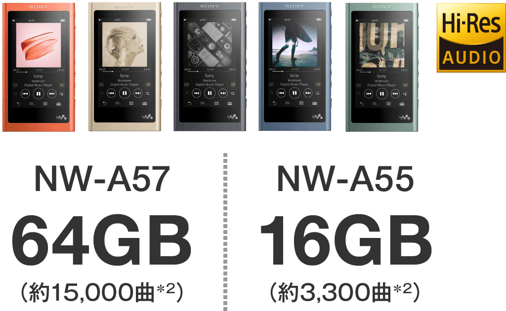 NW-A57 64GB(約15,000)/NW-A55 16GB(約3,300)